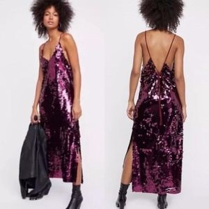 Free People Pink Lace Up Sequin Maxi Dress Gown
